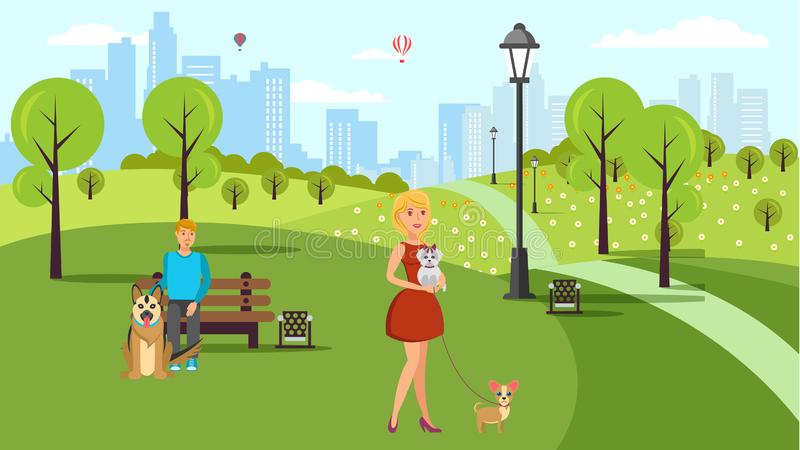 Dog Lovers Walk Vector Color Flat Illustration. Cartoon Character Pet Owners and Animals in Urban Park. Pet and Human Friendship. Man, Woman, Alsatian Dog royalty free illustration