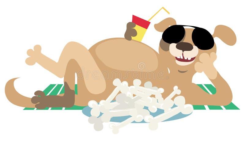 Dog after lunch vector illustration