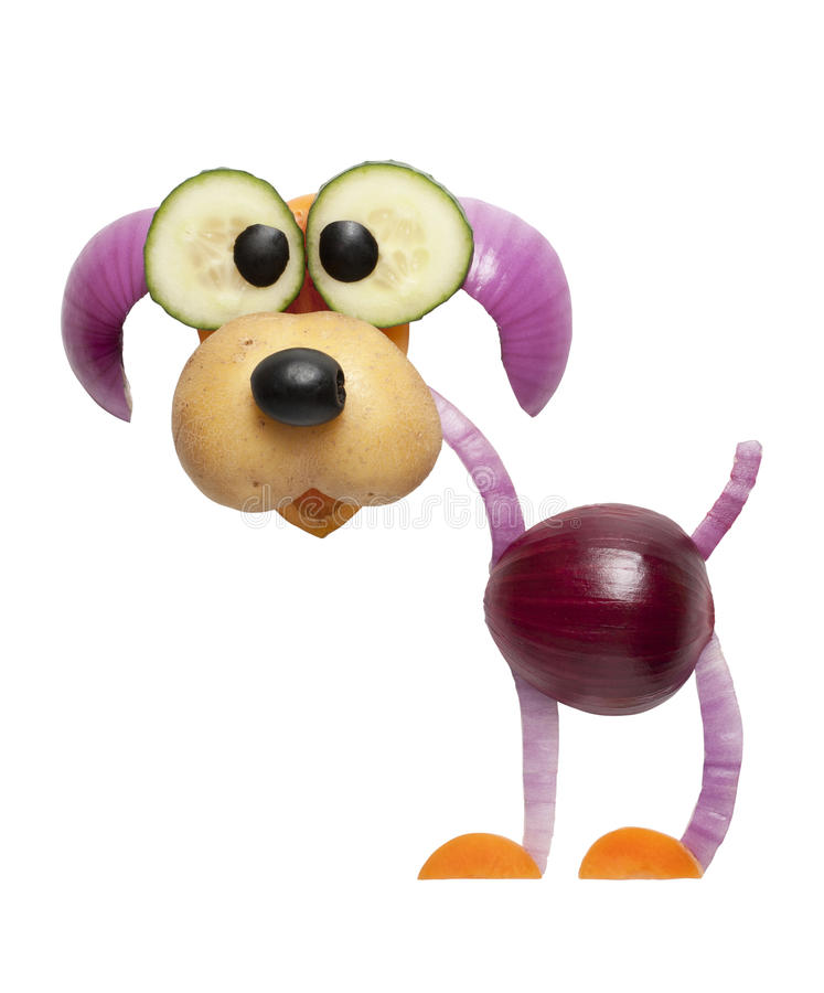 Dog made of onion stock image