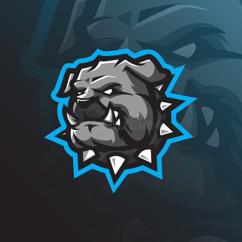 Dog mascot logo design vector with modern illustration concept style for badge, emblem and tshirt printing. angry bulldog head vector illustration