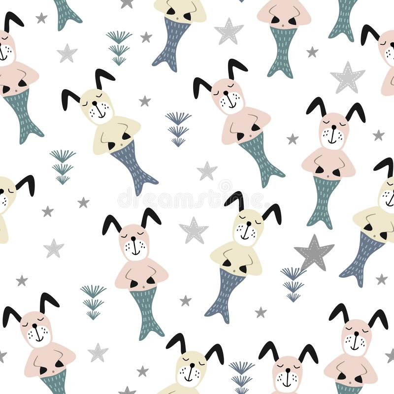 Dog mermaid seamless pattern cute drawing vector illustration vector illustration