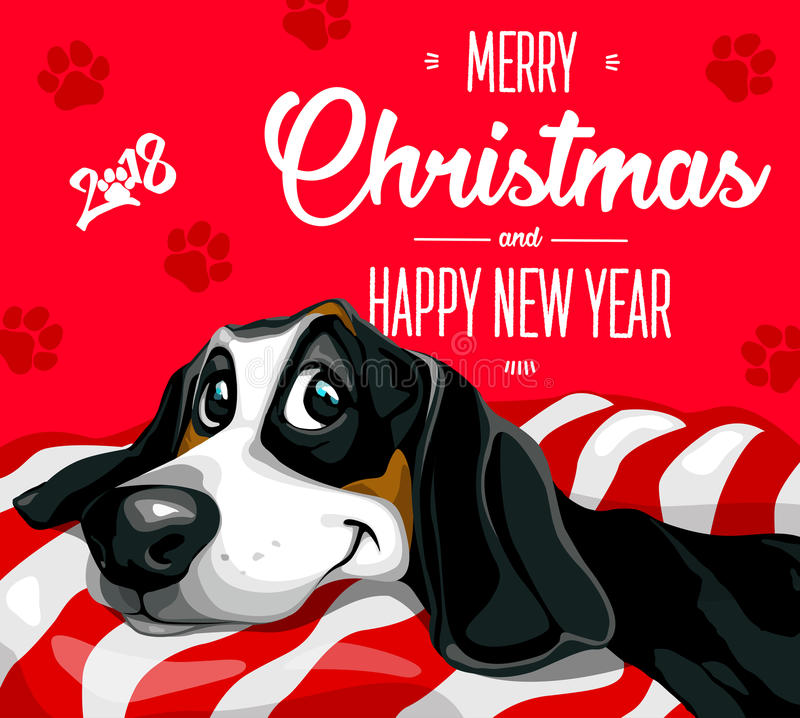 Dog. Merry Christmas and a Happy New Year 2018. Happy, funny puppy stock illustration