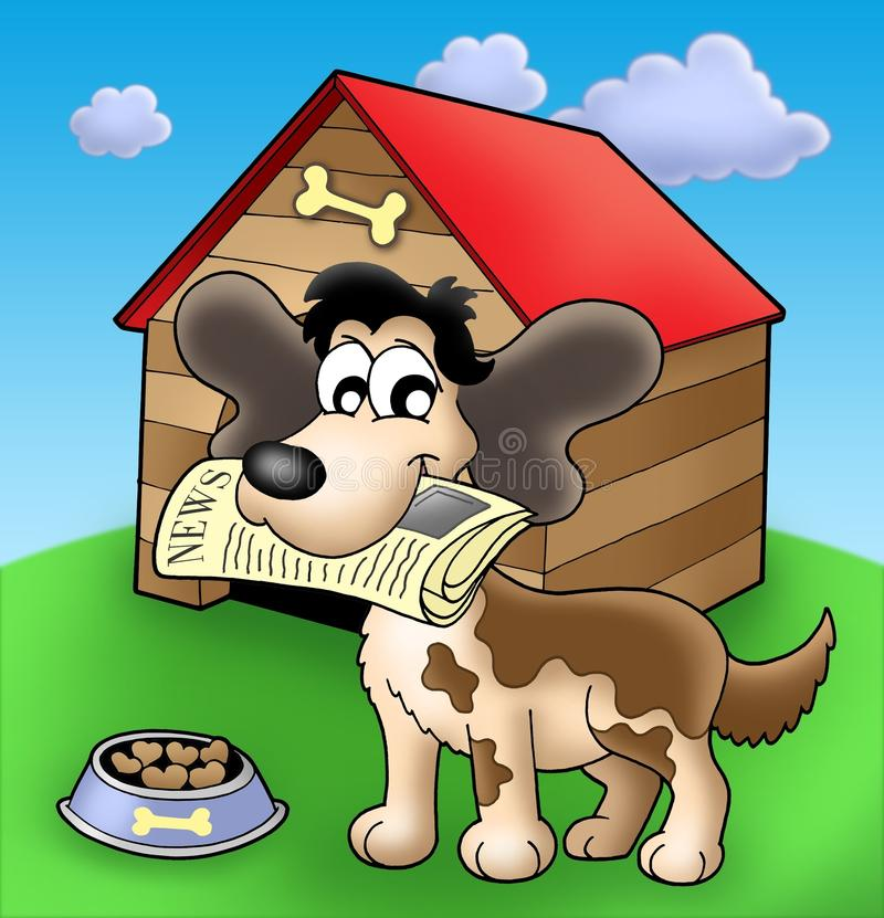 Download Dog With News In Front Of Kennel Royalty Free Stock Photography - Image: 9542007