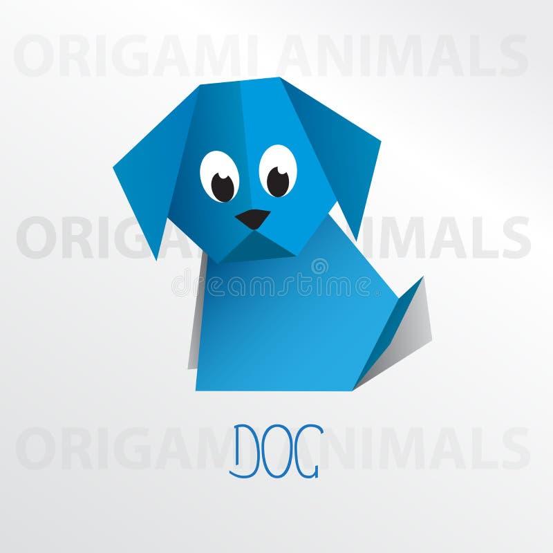 Dog origami paper art illustration. Dog cartoon mascot origami art illustration colorful animal origami art royalty free illustration