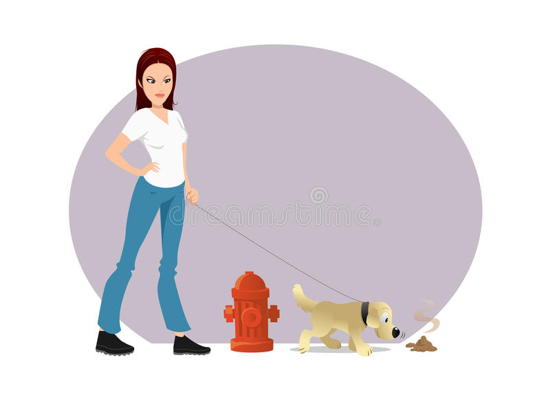 Dog owner poop vector illustration