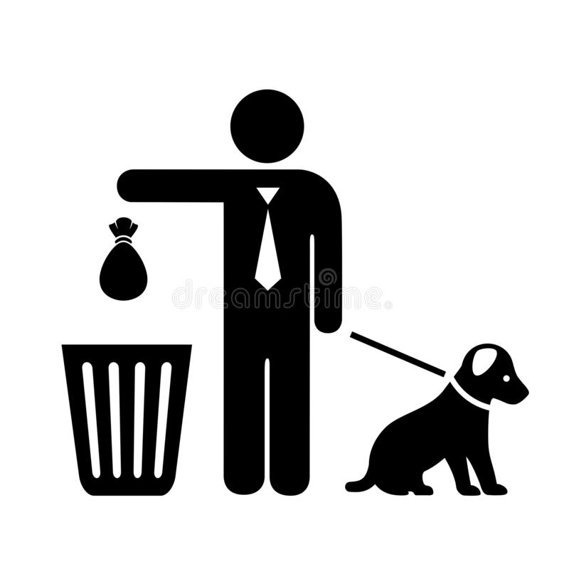 Dog and owner with trash bag vector icon stock illustration