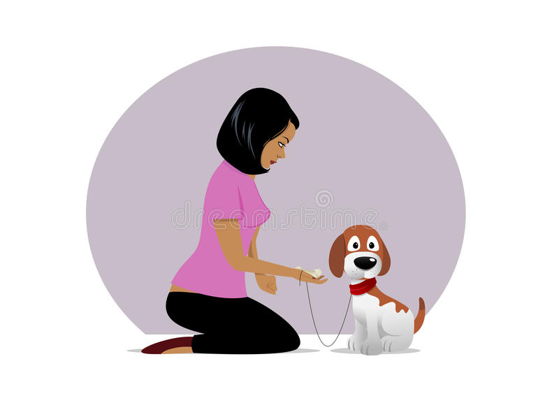 Dog owner treat tempting 02 royalty free illustration