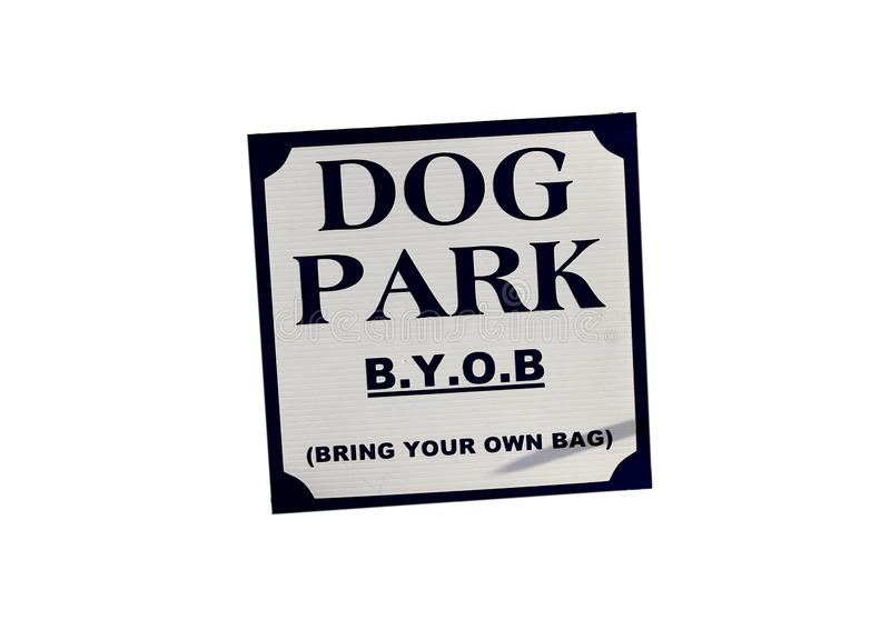 Dog park bring your own bag for poop. stock photography