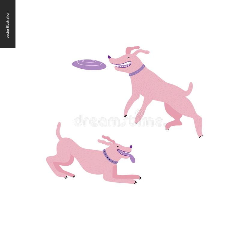 Dog in the park. Flat vector concept illustration of two dogs with collars. One is jumping in the air trying to catch a flying disc. Another is playing with vector illustration