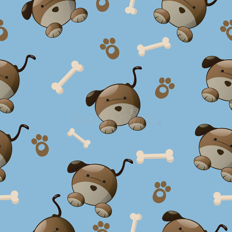 Dog pattern. Seamless colorful dog pattern with paw and bone royalty free stock photos