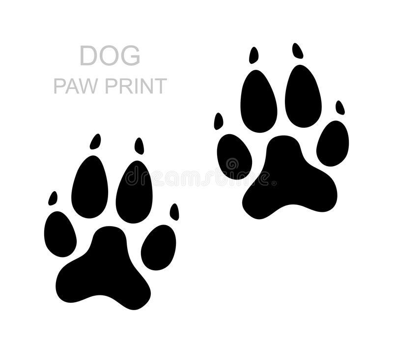 Dog paw. Black silhouette. Foot print. Animal paw isolated on white background. Vector. Illustration stock illustration
