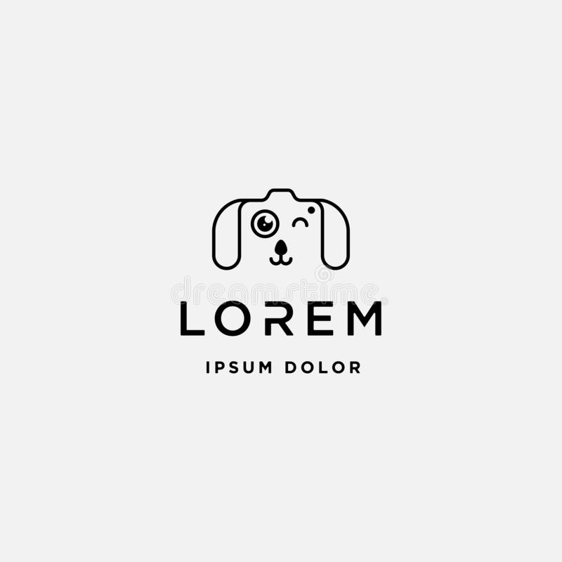 Dog Paw Camera Logo Template Vector Design. Symbol, animal, pet, shutter, photography, line, simple, lens, cat, puppy, footprint, cute, cartoon, technology stock illustration