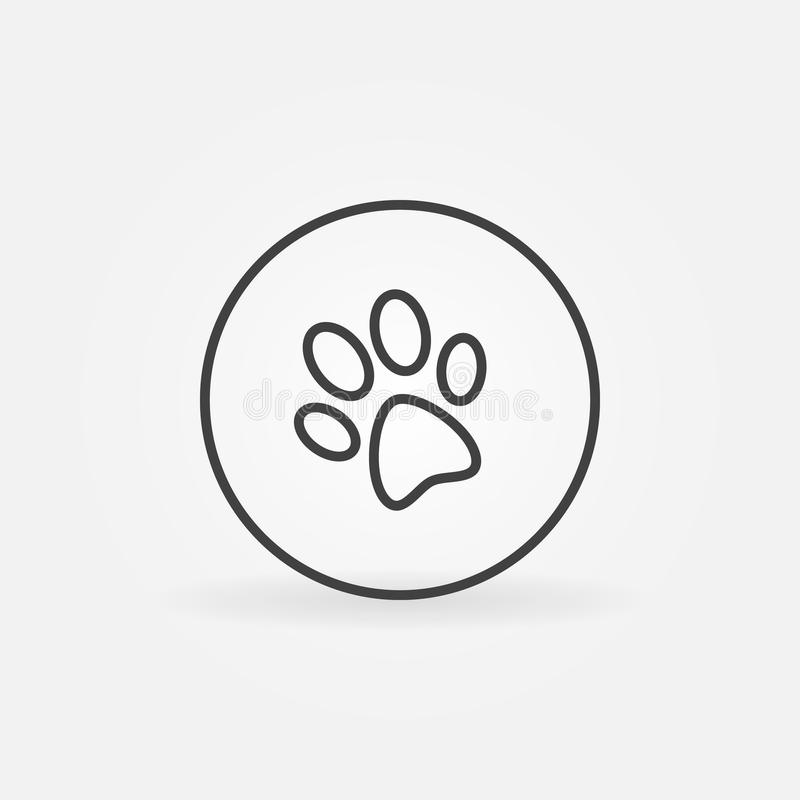 Dog paw in circle icon. Dog or cat paw in circle vector icon or symbol in thin line style stock illustration