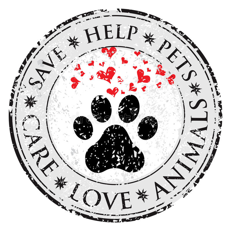 Dog paw heart love sign icon. Pets symbol textured web button. Vector Grunge post stamp. Circle banner or label. Protect your dog royalty free illustration