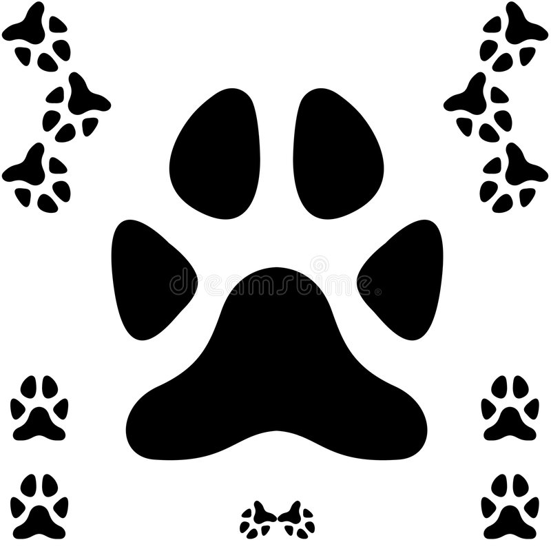 Dog paw print. A dog paw foot print vector illustration