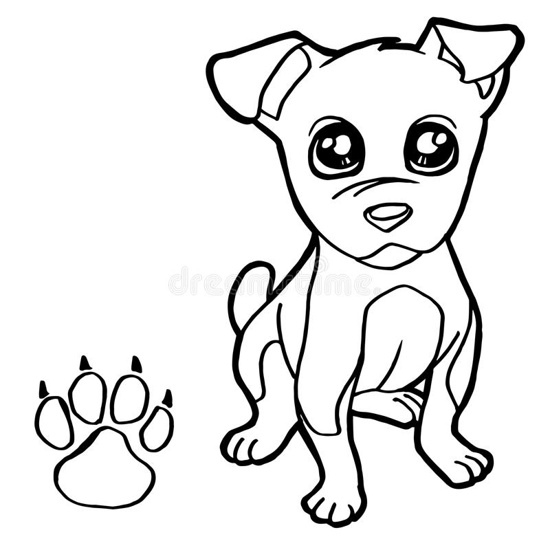 Download Dog With Paw Print Coloring Pages Vector Stock