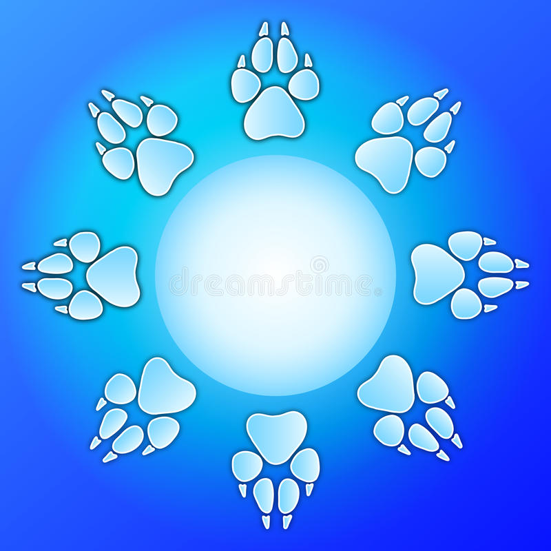 Dog paw print design. Vector animal (canine - dog, wolf, fox...) paw prints around blank circle on blue background - ideal for design for website, illustration stock illustration