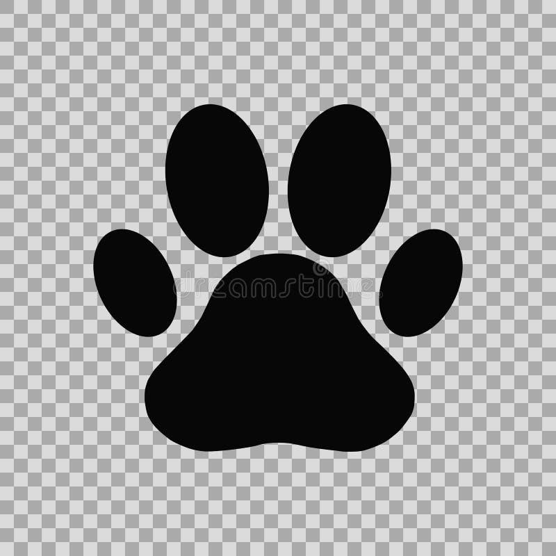 Dog paw print. Isolated on chess background stock illustration