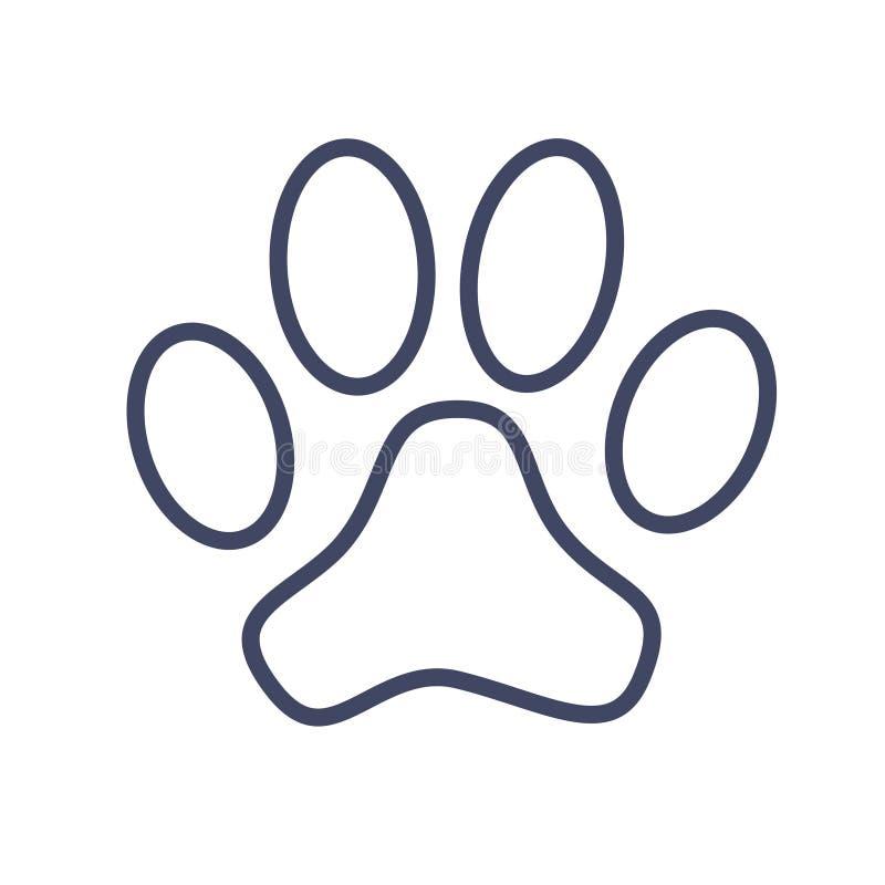 Dog paw print. Black outline sign vector illustration