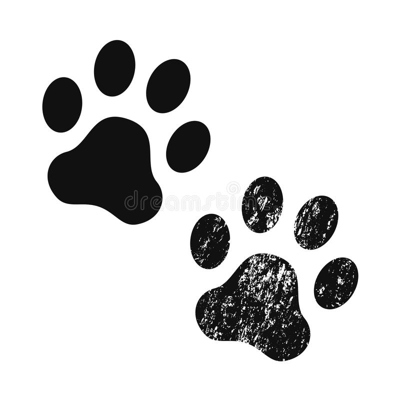 Dog paw print. Vector icon. Dog paw print usual and with texture . Footprint. Black vector icon royalty free illustration