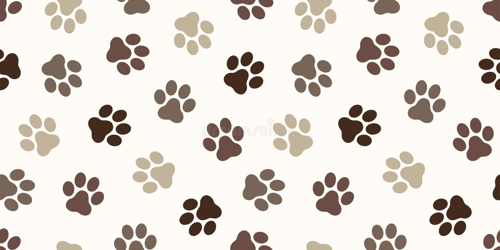 Dog Paw Seamless Pattern vector Cat paw foot print isolated wallpaper background backdrop brown. Dog Paw Seamless Pattern vector Cat paw foot print isolated vector illustration