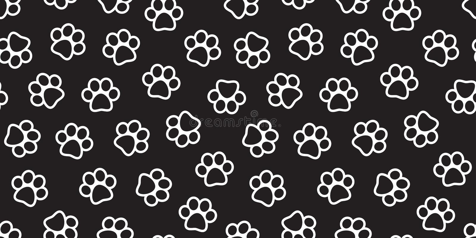 Dog Paw Seamless Pattern Vector Cat Paw Footprint Isolated Wallpaper Background Black Stock Vector Illustration Of Cartoon Mark 125422443