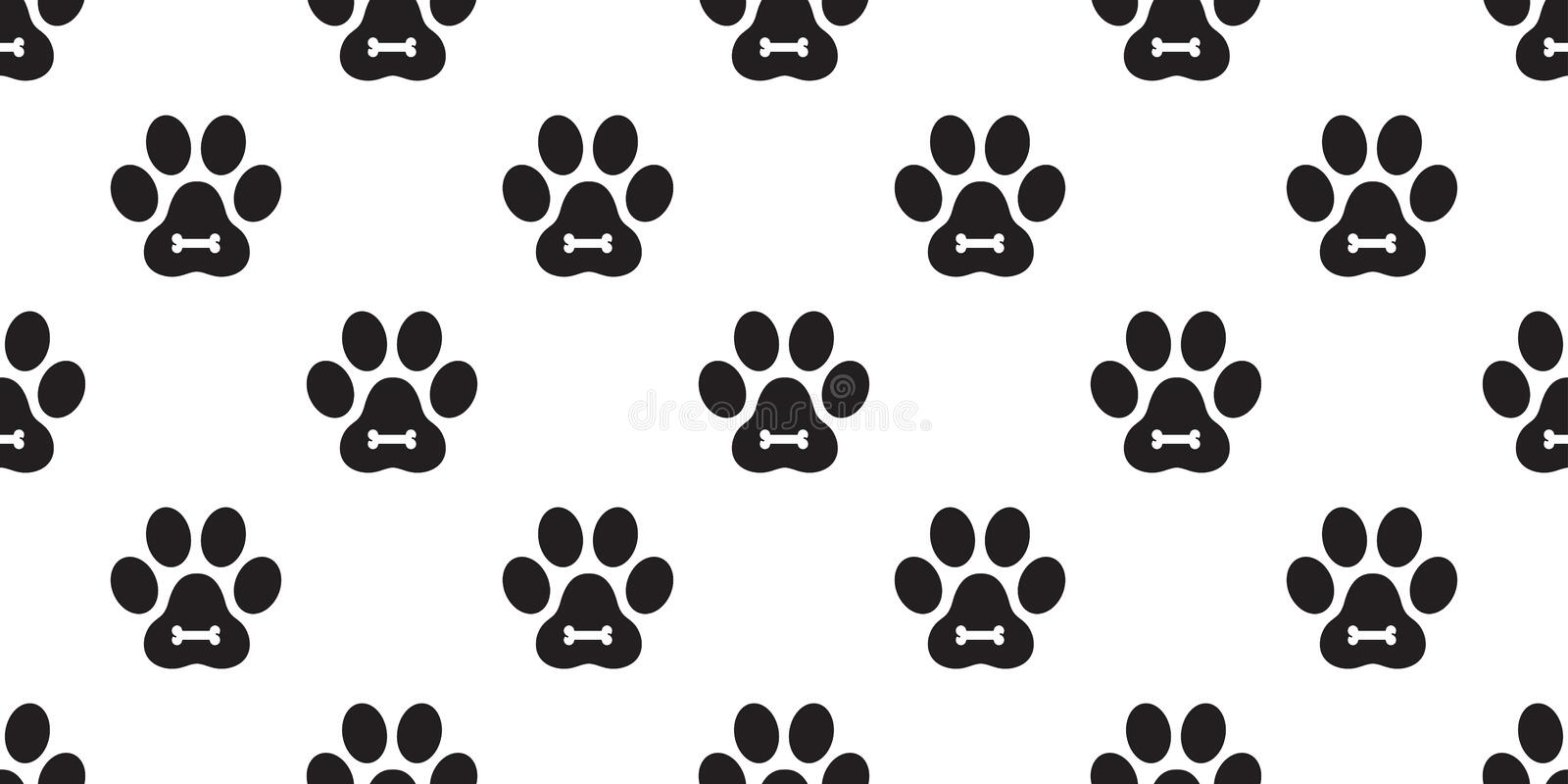 Dog Paw Seamless Pattern vector Cat Paw puppy bone foot print kitten scarf isolated repeat wallpaper tile background illustration. Dog Paw Seamless Pattern stock illustration