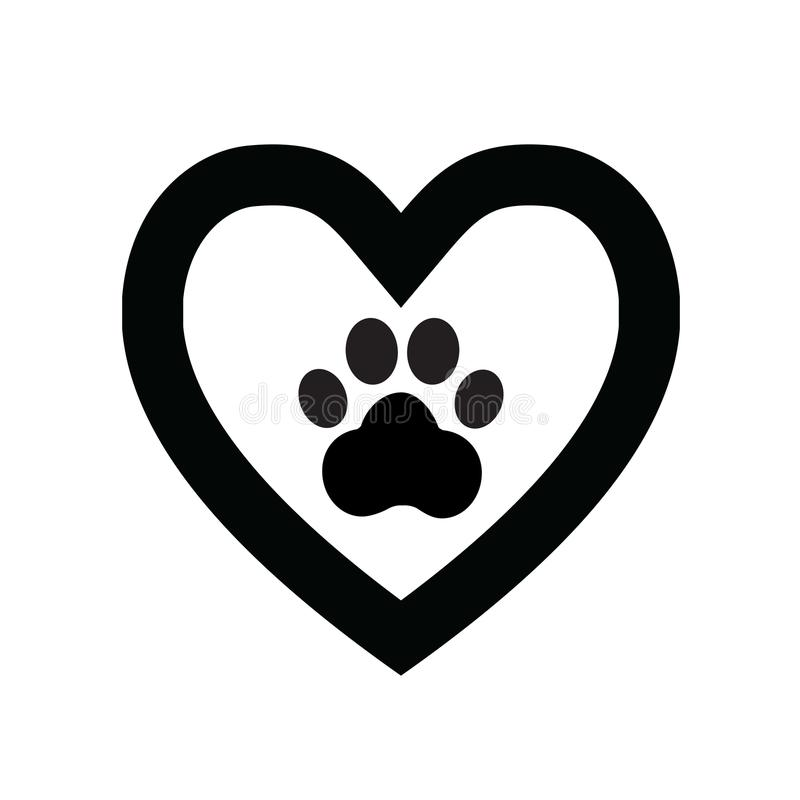 Dog paw sign icon in heart1 stock image