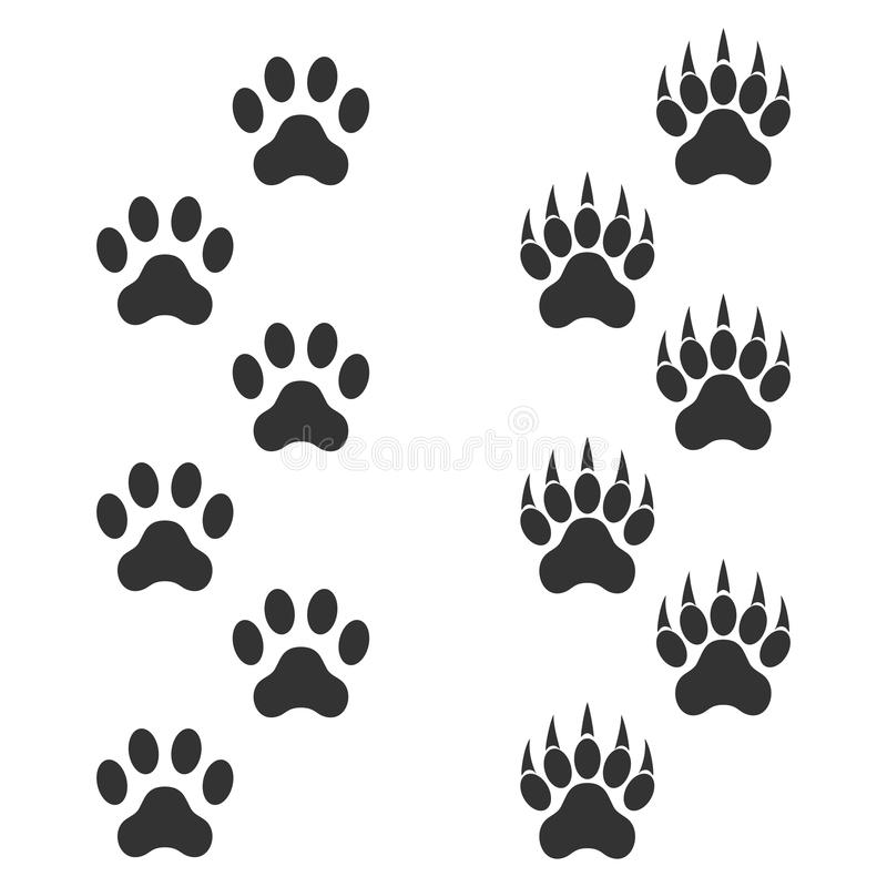 Dog paw and tiger paw with claws. Trace animal. Black footprints isolated on white background stock illustration