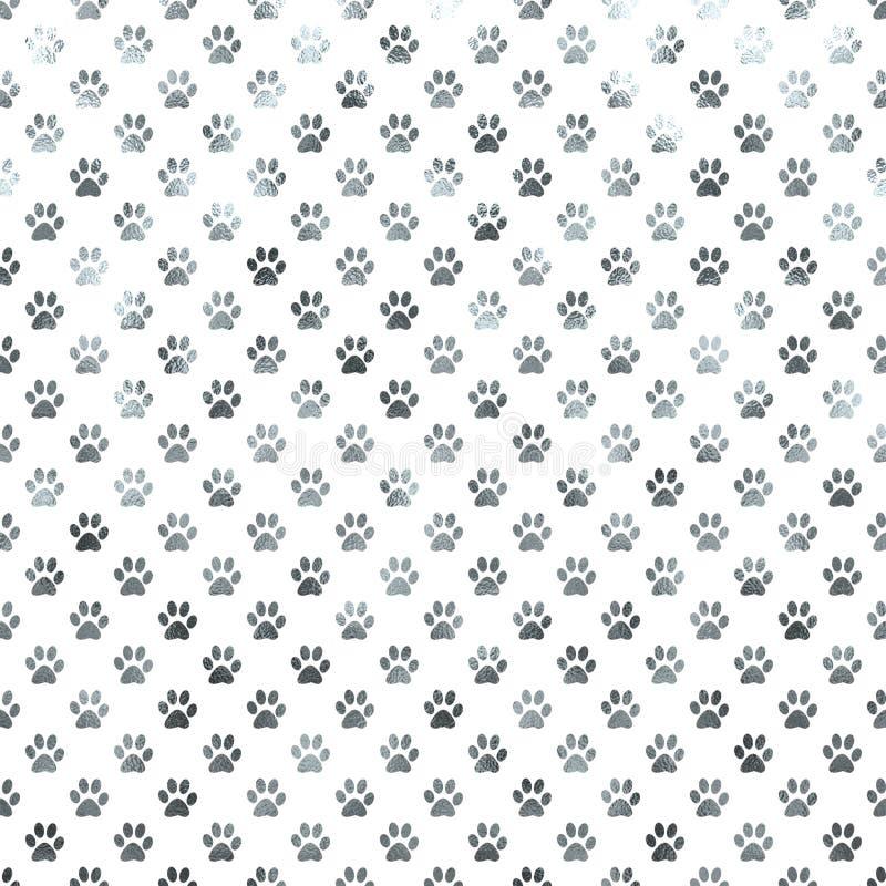 Free Dog Paw White Silver Metallic Foil Polka Dot Paws Background Stock Image - 66964941