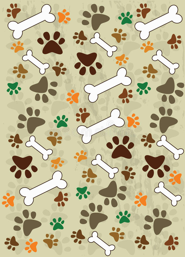 Dog paws and food for dogs stock illustration