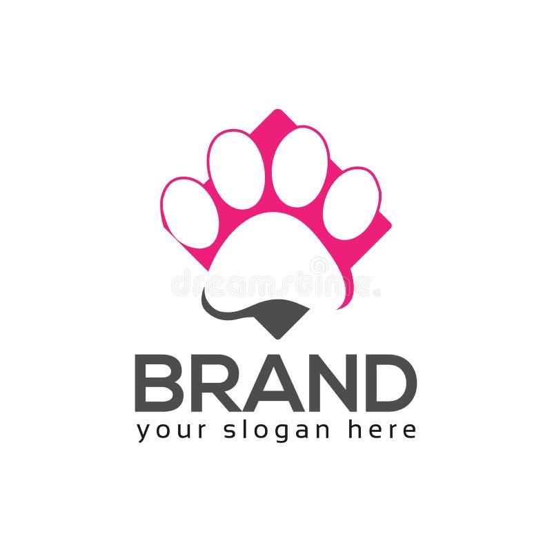 Dog paws logo vector. Flat design vector illustration