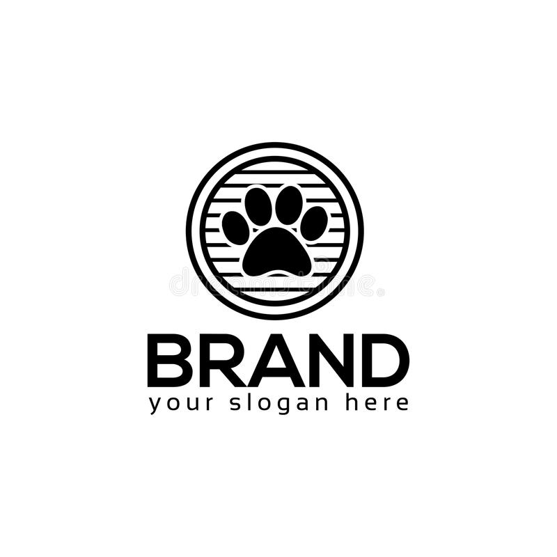 Dog paws logo vector. Flat logo design. stock illustration