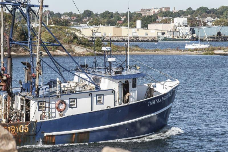 Dog peering from wheelhouse of commercial fishing boat royalty free stock photo