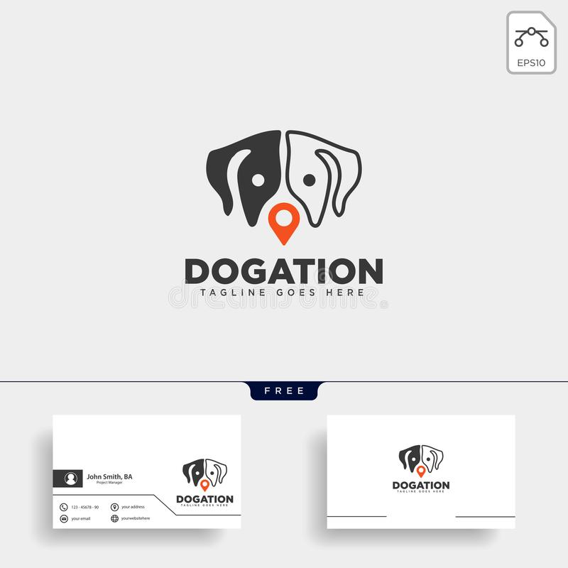 Dog pet animal pin location logo template vector icon. Element isolated royalty free illustration