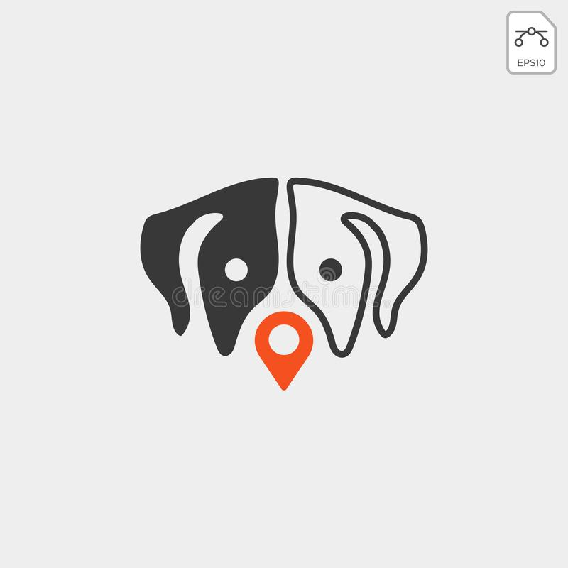 Dog pet animal pin location logo template vector icon. Element isolated stock illustration