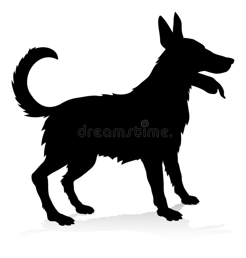 Dog Pet Animal Silhouette. An animal silhouette of a pet dog stock illustration