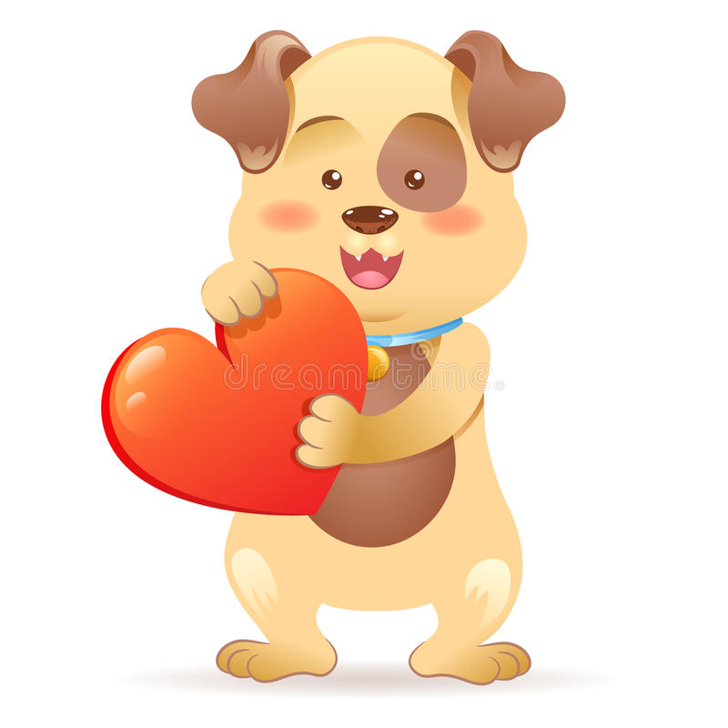 Download Dog pet  holding heart stock illustration. Illustration of cartoon - 37727707