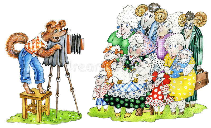 Dog-photographer and sheeps family. Dog-photographer with retro camera takes a picture of big sheep`s family stock illustration