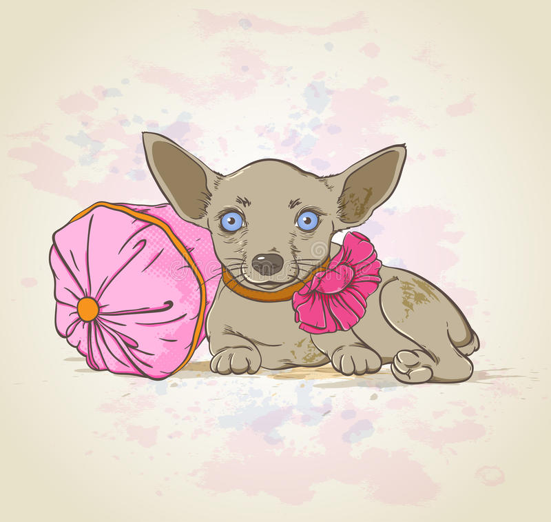 Download Dog on pink pillow stock vector. Illustration of design - 32836148