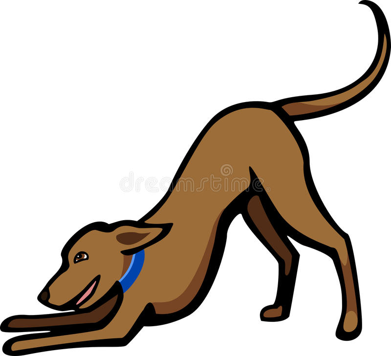 Dog in a Play Bow. Stylized illustration a happy dog in a play bow gesture stock illustration