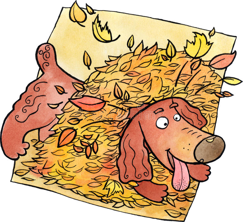 Dog playing in a heap of leaves. Brawn dog playing in a heap of autumn leaves. Watercolor and ink illustration stock illustration
