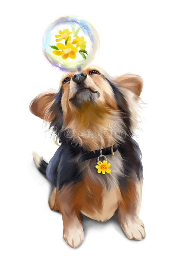 Dog playing with soap bubble watercolor painting vector illustration