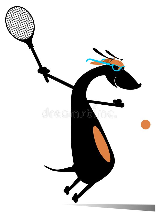 Dog playing tennis isolated vector illustration