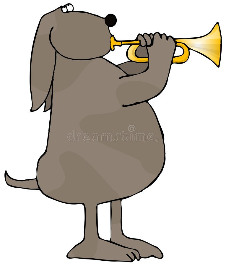 Dog Playing A Trumpet stock illustration