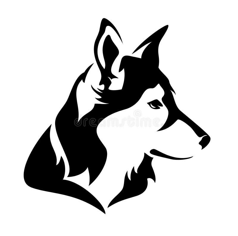 Dog profile head. Black and white vector animal vector illustration