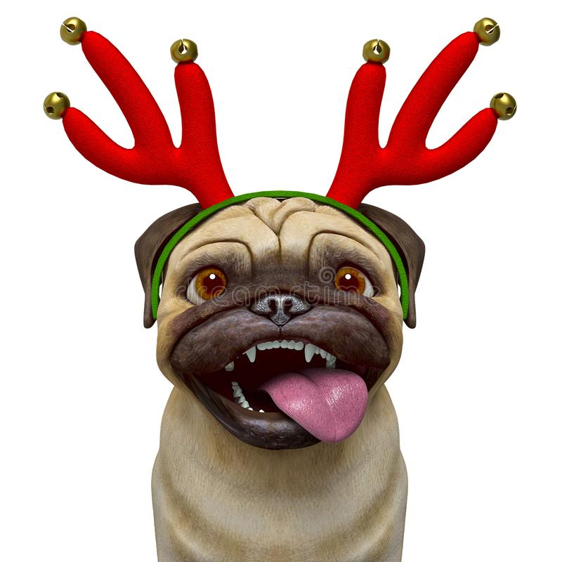 Dog pug cartoon with a christmas hat smiling and with his tongue out stock illustration