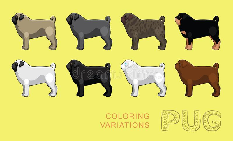 download dog pug coloring variations vector illustration stock vector image 78848846 - Pug Pictures To Color