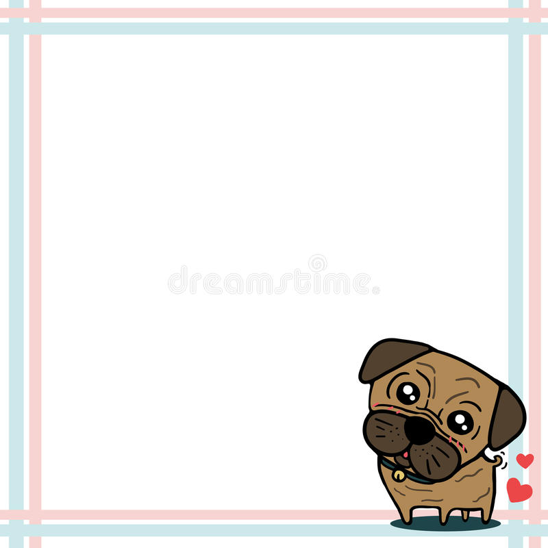 Download Dog (Pug) with paper note stock vector. Image of memory - 28739823