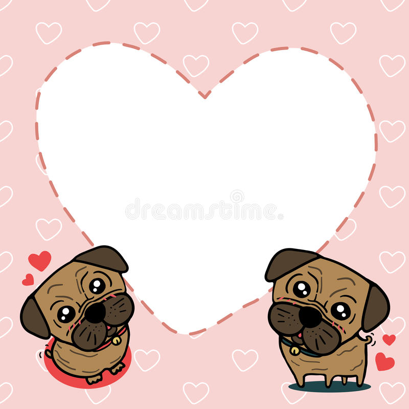 Dog (Pug) With Sweet Card Royalty Free Stock Photo